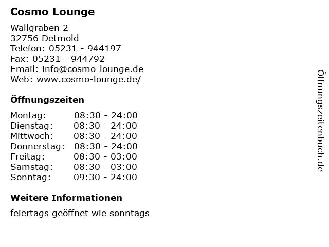 Cosmo Lounge in Detmold: Adresse und Öffnungszeiten