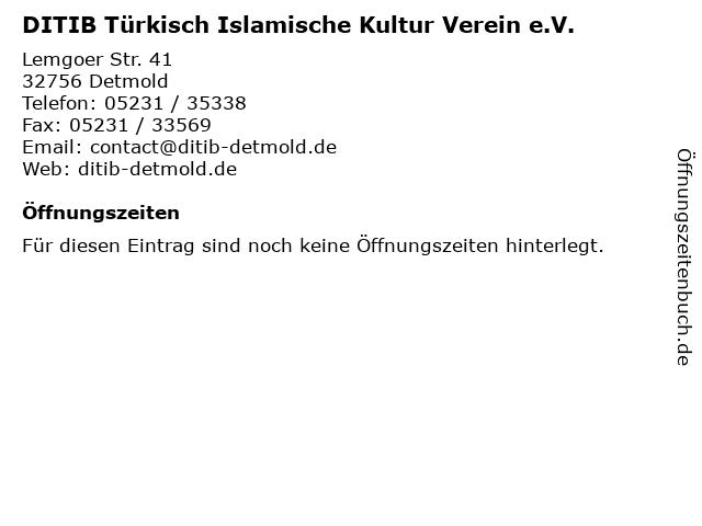 DITIB Türkisch Islamische Kultur Verein e.V. in Detmold: Adresse und Öffnungszeiten