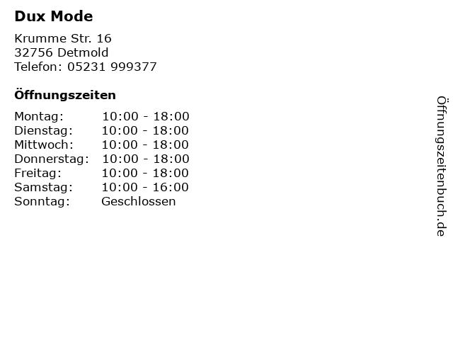 Dux Mode in Detmold: Adresse und Öffnungszeiten