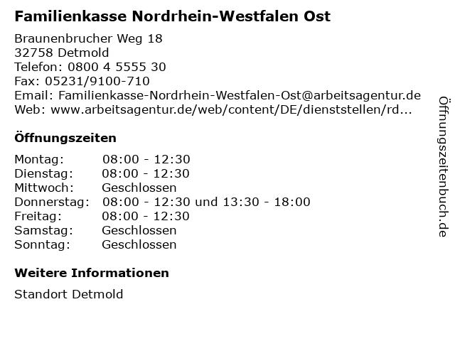 Familienkasse Nordrhein-Westfalen Ost in Detmold: Adresse und Öffnungszeiten