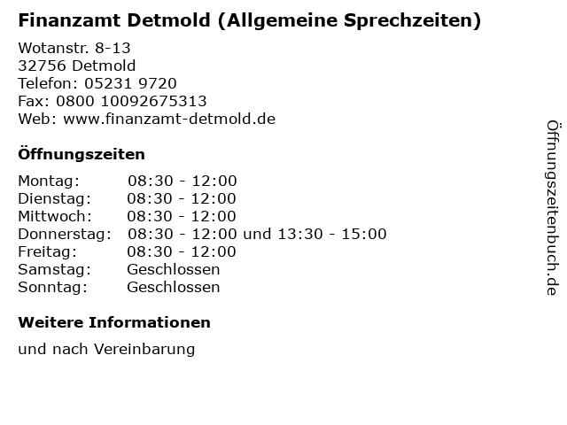 Finanzamt Detmold (Allgemeine Sprechzeiten) in Detmold: Adresse und Öffnungszeiten