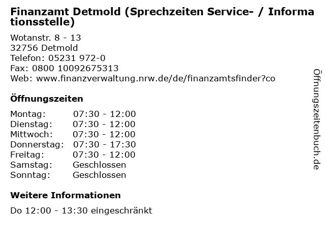 Finanzamt Detmold (Sprechzeiten Service- / Informationsstelle) in Detmold: Adresse und Öffnungszeiten