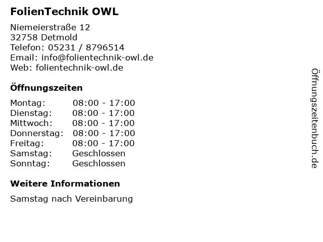 FolienTechnik OWL in Detmold: Adresse und Öffnungszeiten