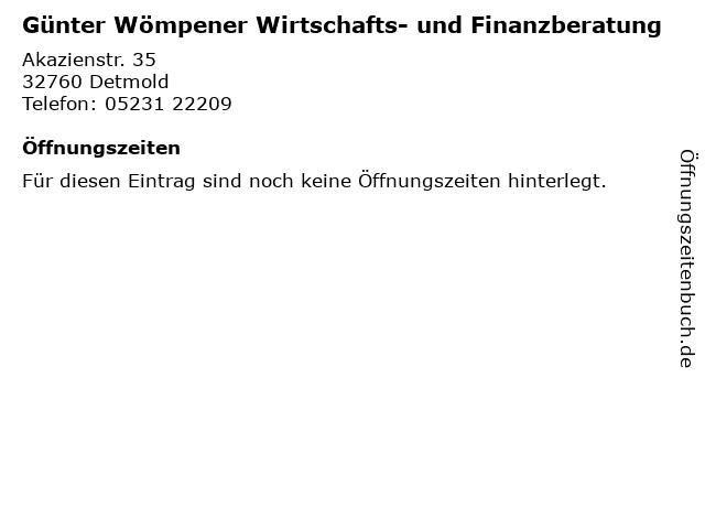 Günter Wömpener Wirtschafts- und Finanzberatung in Detmold: Adresse und Öffnungszeiten