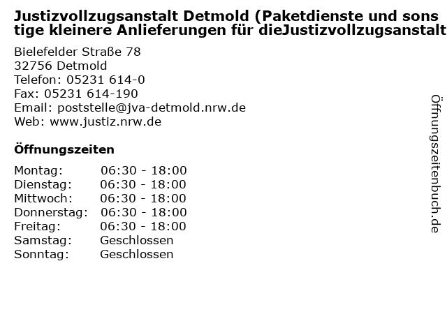 Justizvollzugsanstalt Detmold (Paketdienste und sonstige kleinere Anlieferungen für dieJustizvollzugsanstalt) in Detmold: Adresse und Öffnungszeiten