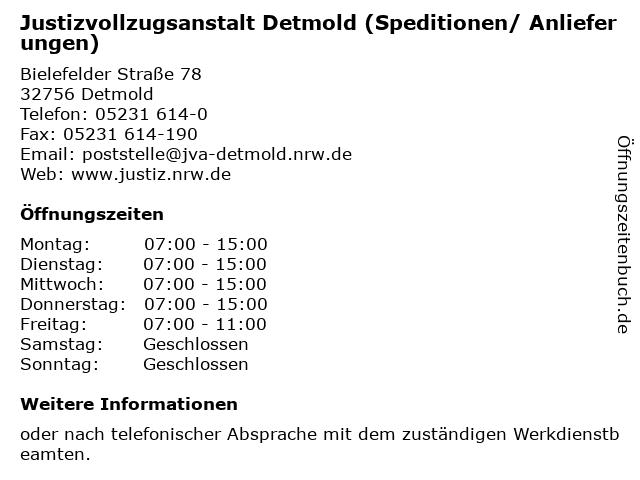 Justizvollzugsanstalt Detmold (Speditionen/ Anlieferungen) in Detmold: Adresse und Öffnungszeiten