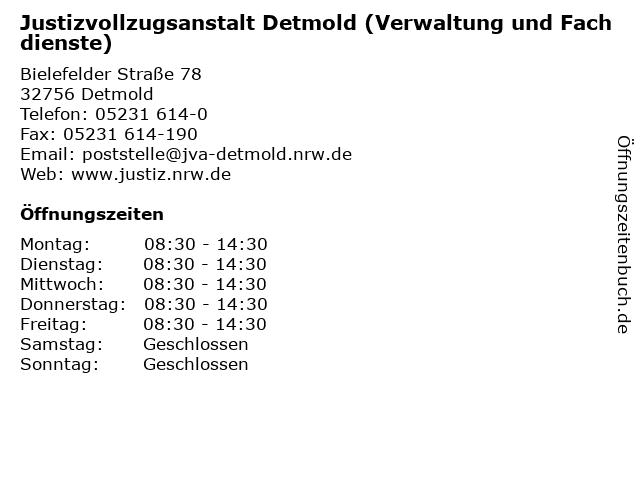 Justizvollzugsanstalt Detmold (Verwaltung und Fachdienste) in Detmold: Adresse und Öffnungszeiten