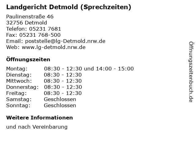 Landgericht Detmold (Sprechzeiten) in Detmold: Adresse und Öffnungszeiten