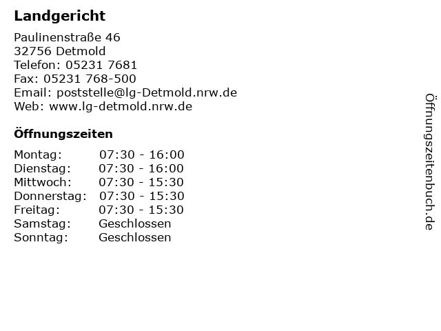 Landgericht in Detmold: Adresse und Öffnungszeiten