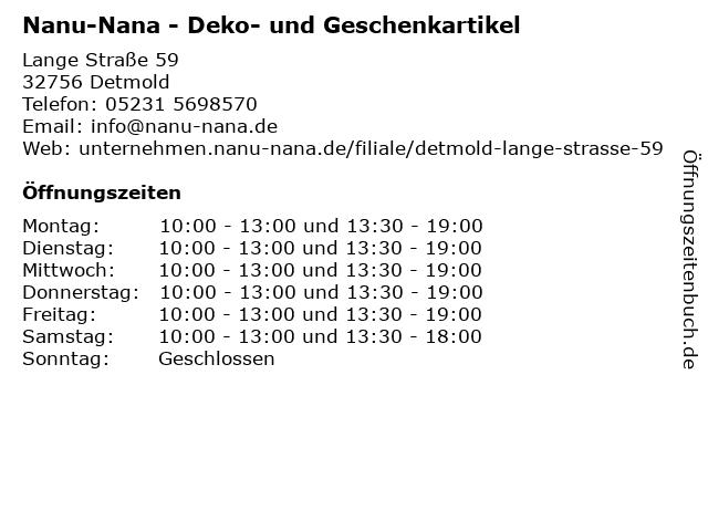 Nanu-Nana in Detmold: Adresse und Öffnungszeiten