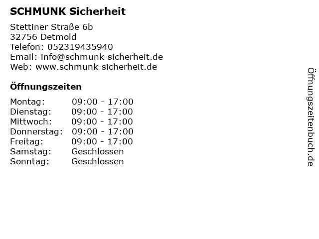 SCHMUNK Sicherheit in Detmold: Adresse und Öffnungszeiten