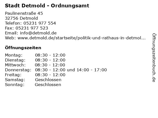 Stadt Detmold - Ordnungsamt in Detmold: Adresse und Öffnungszeiten