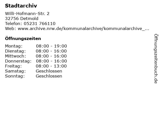 Stadtarchiv in Detmold: Adresse und Öffnungszeiten