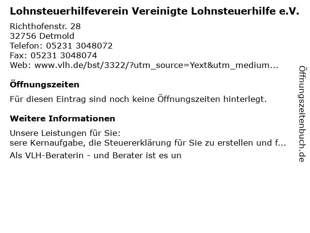 Vereinigte Lohnsteuerhilfe e.V. - Natascha Buscher-Gavgalidis in Detmold: Adresse und Öffnungszeiten