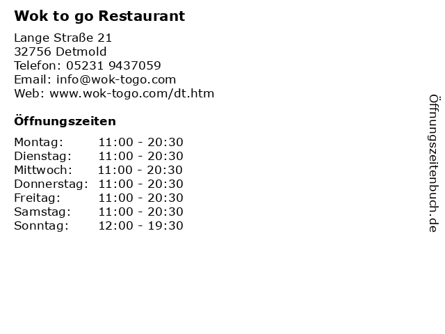 Wok to go Restaurant in Detmold: Adresse und Öffnungszeiten