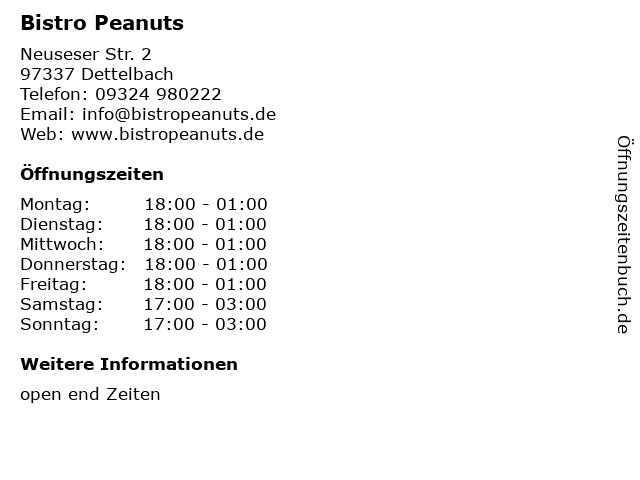 Bistro Peanuts in Dettelbach: Adresse und Öffnungszeiten