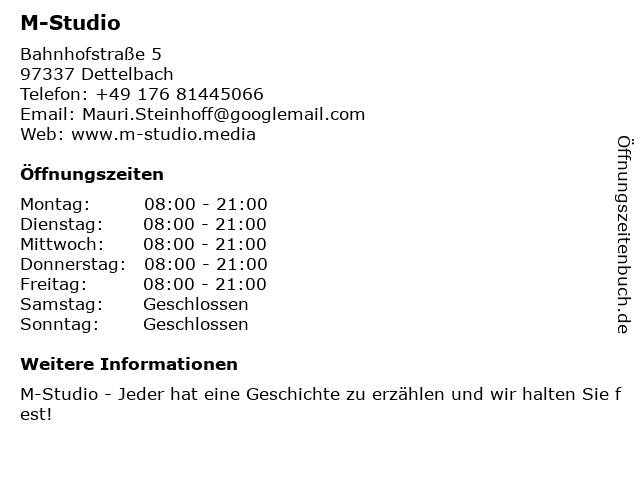 M-Studio in Dettelbach: Adresse und Öffnungszeiten