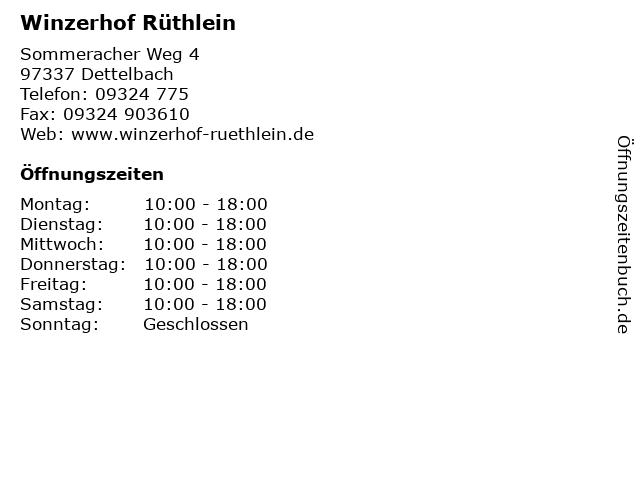 Winzerhof Rüthlein in Dettelbach: Adresse und Öffnungszeiten