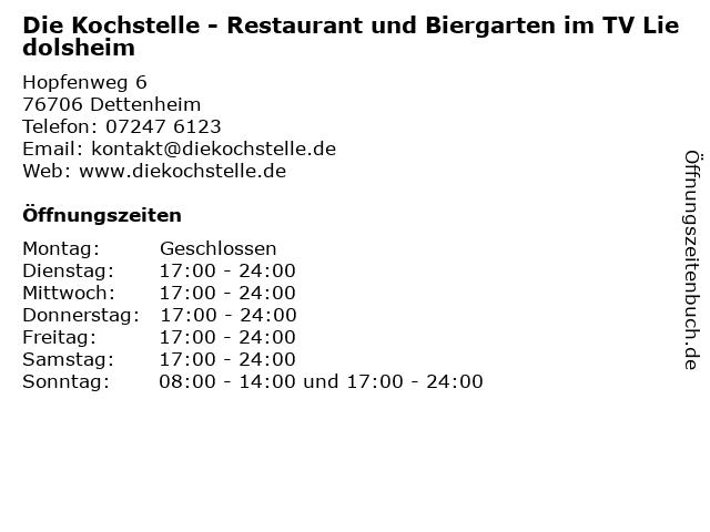 Die Kochstelle - Restaurant und Biergarten im TV Liedolsheim in Dettenheim: Adresse und Öffnungszeiten