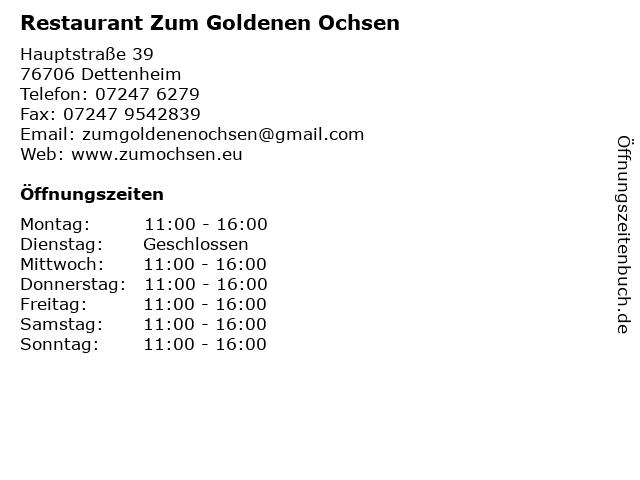 Restaurant Zum Goldenen Ochsen in Dettenheim: Adresse und Öffnungszeiten