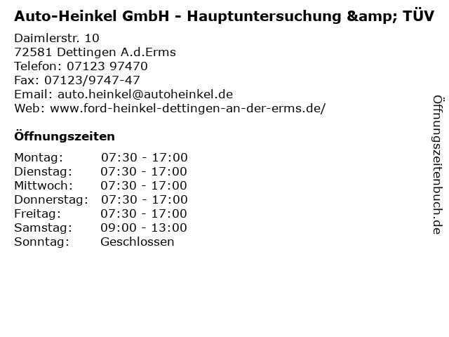 Auto-Heinkel GmbH - Hauptuntersuchung & TÜV in Dettingen A.d.Erms: Adresse und Öffnungszeiten