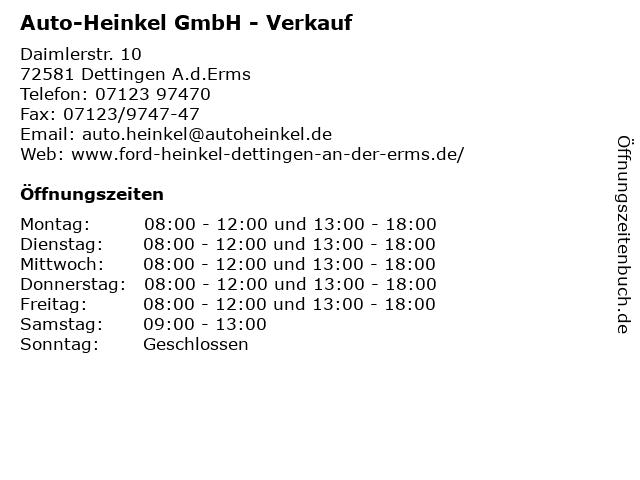 Auto-Heinkel GmbH - Verkauf in Dettingen A.d.Erms: Adresse und Öffnungszeiten