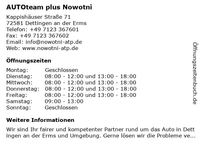 AUTOteam plus Nowotni in Dettingen an der Erms: Adresse und Öffnungszeiten