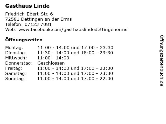 Gasthaus Linde in Dettingen an der Erms: Adresse und Öffnungszeiten