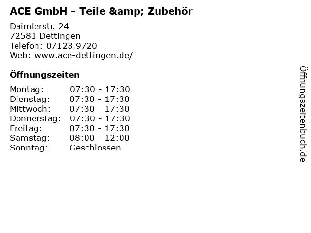 ACE GmbH - Teile & Zubehör in Dettingen: Adresse und Öffnungszeiten