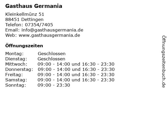 Gasthaus Germania in Dettingen: Adresse und Öffnungszeiten