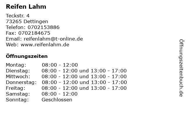 Reifen Lahm in Dettingen: Adresse und Öffnungszeiten
