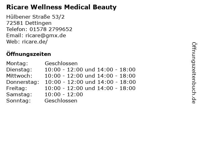 Ricare Wellness Medical Beauty in Dettingen: Adresse und Öffnungszeiten