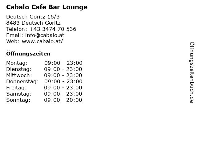 Cabalo Cafe Bar Lounge in Deutsch Goritz: Adresse und Öffnungszeiten