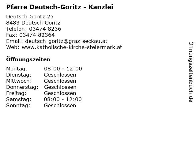 Pfarre Deutsch-Goritz - Kanzlei in Deutsch Goritz: Adresse und Öffnungszeiten