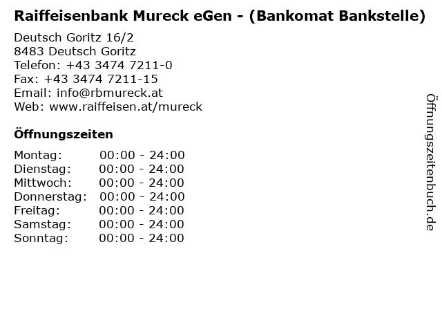 Raiffeisenbank Mureck eGen - (Bankomat Bankstelle) in Deutsch Goritz: Adresse und Öffnungszeiten