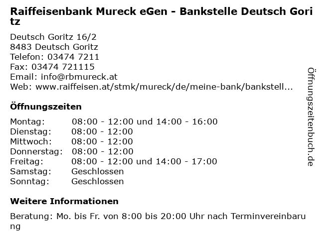 Raiffeisenbank Mureck eGen - Bankstelle Deutsch Goritz in Deutsch Goritz: Adresse und Öffnungszeiten