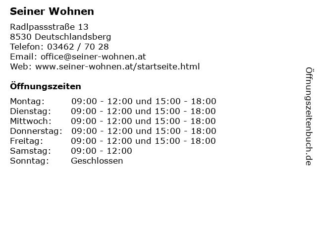 Seiner Wohnen in Deutschlandsberg: Adresse und Öffnungszeiten