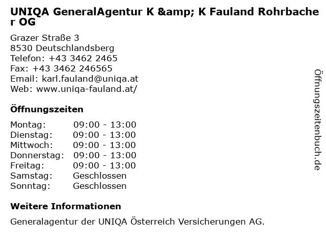 ᐅ Offnungszeiten Uniqa Versicherungen General Agentur K K