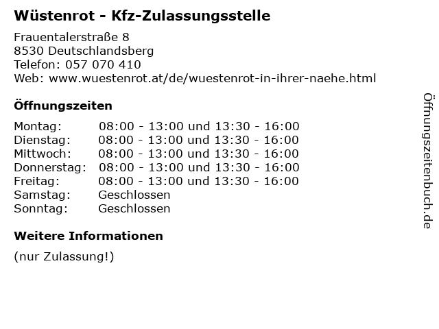 ᐅ Offnungszeiten Wustenrot Kfz Zulassungsstelle