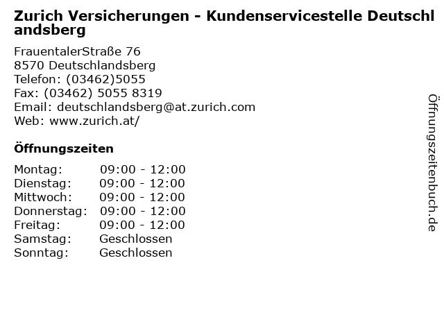 ᐅ Offnungszeiten Zurich Versicherungen Kundenservicestelle