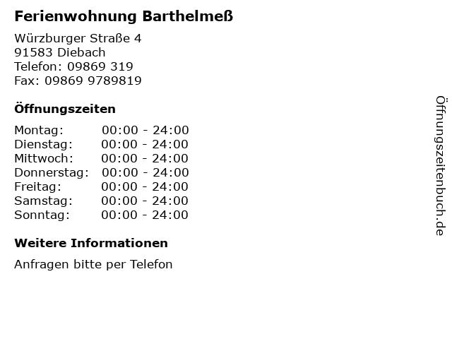 Ferienwohnung Barthelmeß in Diebach: Adresse und Öffnungszeiten