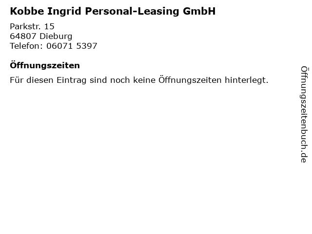 Kobbe Ingrid Personal-Leasing GmbH in Dieburg: Adresse und Öffnungszeiten