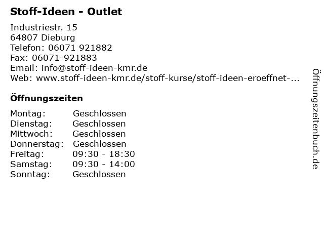 """ᐅ Öffnungszeiten """"Stoff-Ideen - Outlet""""  Industriestr. 5 in Dieburg"""