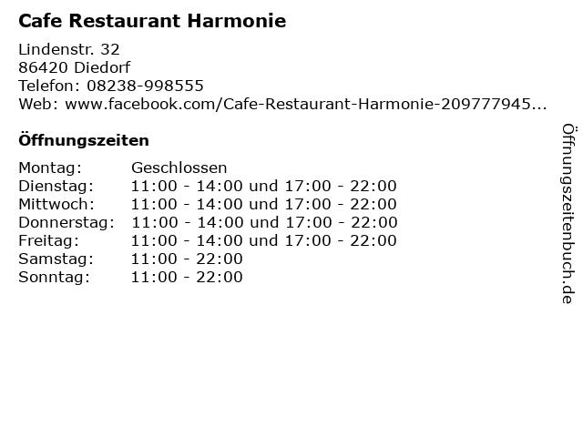 Cafe Restaurant Harmonie in Diedorf: Adresse und Öffnungszeiten