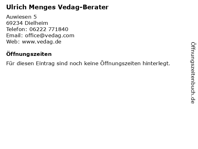 Ulrich Menges Vedag-Berater in Dielheim: Adresse und Öffnungszeiten