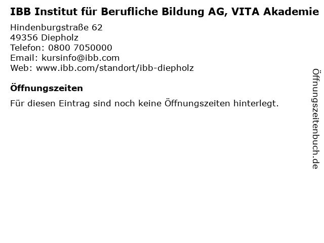 ᐅ öffnungszeiten Ibb Institut Für Berufliche Bildung Ag Vita