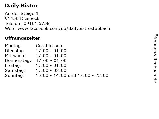 Daily Bistro in Diespeck: Adresse und Öffnungszeiten