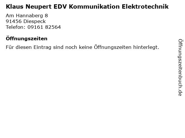 Klaus Neupert EDV Kommunikation Elektrotechnik in Diespeck: Adresse und Öffnungszeiten