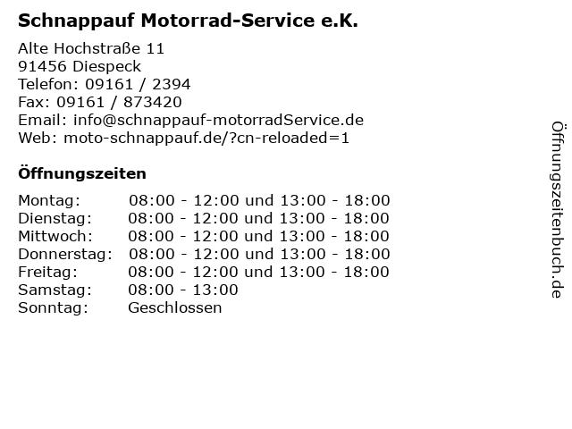 Schnappauf Motorrad-Service e.K. in Diespeck: Adresse und Öffnungszeiten