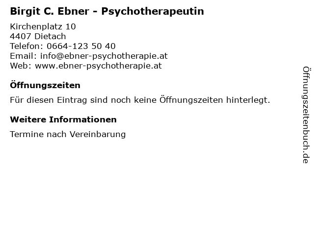 Birgit C. Ebner - Psychotherapeutin in Dietach: Adresse und Öffnungszeiten